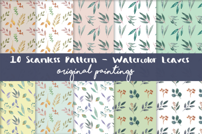 Watercolor Seamless Pattern Leaves Clip art