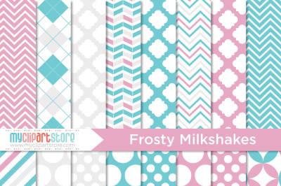 Frosty Milkshakes Digital Paper Patterns