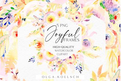 Yellow flowers watercolor clip art, Boho roses frames clip art