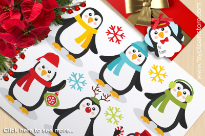 Christmas Penguins Vector Clipart