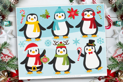 Christmas Penguins Clipart, Vector, SVG
