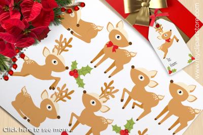 Festive Reindeer Vector Clipart
