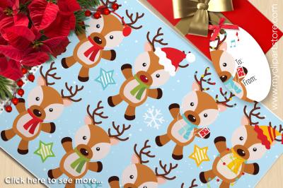 Santa's Reindeer Christmas Vector Clipart