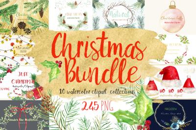 Christmas bundle watercolor  clipart