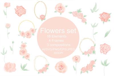 Flower SVG, rose svg, bouquet svg, png. Flowers set.