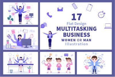 17 Multitasking Business Woman or Man Illustration
