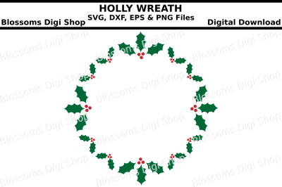 Holly wreath SVG, EPS, DXF and PNG cut file