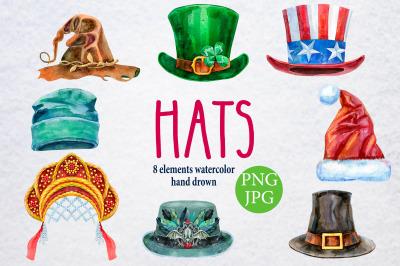 Watercolor amazing hats 4