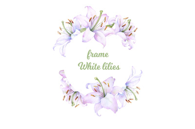 Round frame with watercolor white lilies flowers