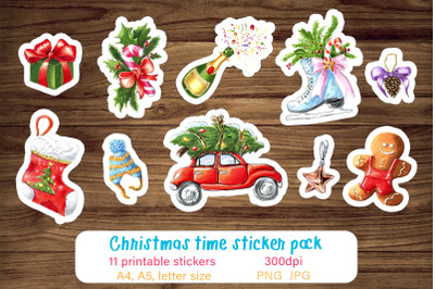 Christmas stickers / Printable sticker pack / Stickers png