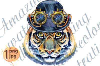 Tiger head in a bowler hat and steampunk goggles