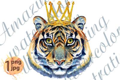 Tiger horoscope character watercolor illustration