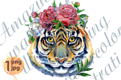 Tiger horoscope character watercolor illustration with flowers