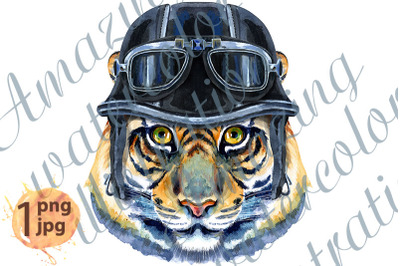 Tiger horoscope character watercolor illustration with biker helmet