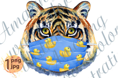 Tiger head in blue protective mask