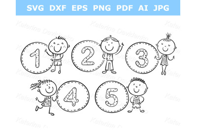 Stick figure. Counting numbers with kids. Outline clipart