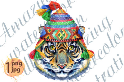 Tiger in chullo hat. Watercolor illustration