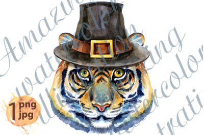 Tiger horoscope character watercolor illustration in the pilgrim's hat