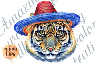Tiger horoscope character watercolor illustration in sombrero