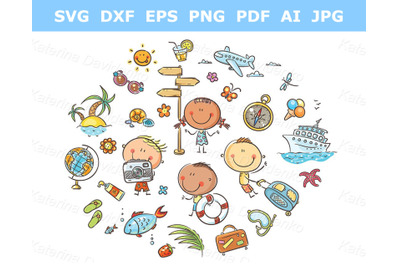 Kids clipart set. Summer and Travelling