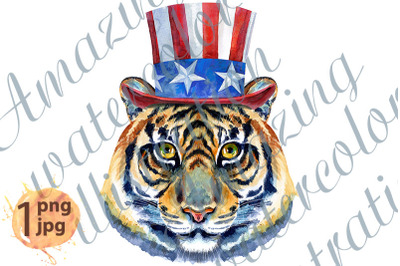 Tiger horoscope character watercolor illustration with Uncle Sam hat