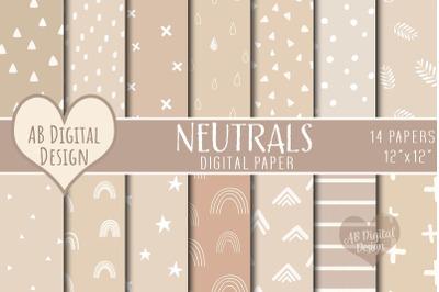 Neutral Digital Paper, Brown/Beige/Nude, Boho Scandi Patterns