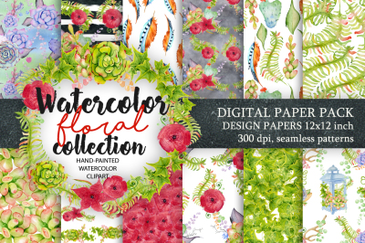 Digital Paper Pack, Waterclor seamless pattern, Watercolor Backgrounds, Floral Scrapbook Paper, Wedding Floral, DIY Pack, Instand download