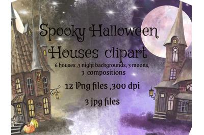 Houses watercolor clipart.Magic moon.Mystical house