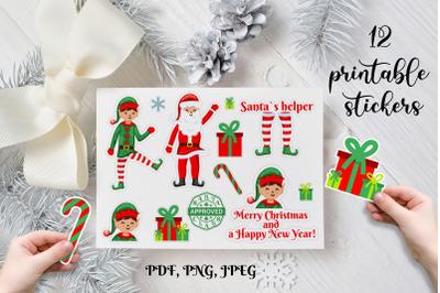 Christmas stickers. Elf Christmas printable stickers.