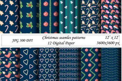 Christmas seamless pattern.Digital paper.Santa,New year