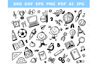 Schoolkids with lots of school things. Outline clipart collection