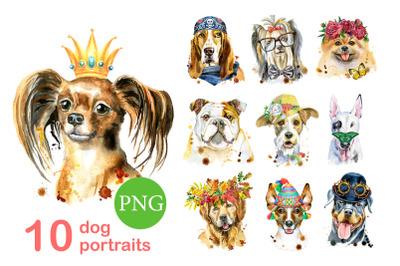 I am glad to present you a watercolor dog portraits