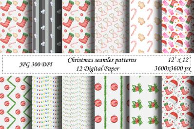 Christmas seamless pattern.Watercolor Santa,New year