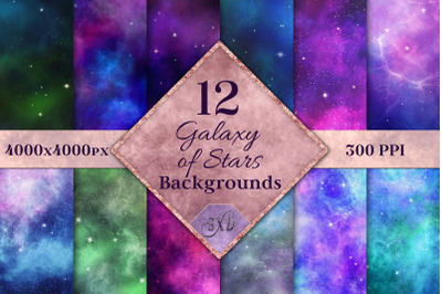 Galaxy of Stars Backgrounds - 12 Image Textures Set