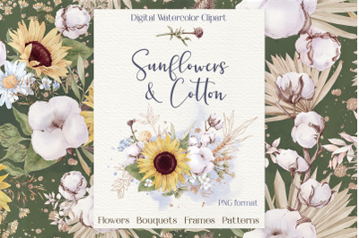 Watercolor flowers Sunflowers and cotton clipart big set