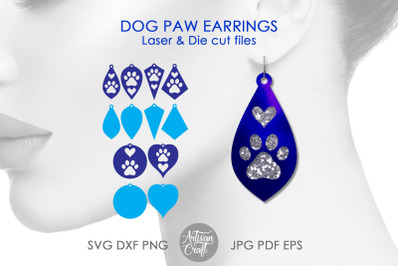 Dog paw earrings SVG cut file with hearts, teardrop earrings