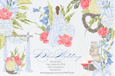 Vintage Blue Wedding Clipart Flowers Bride Orchid Rose