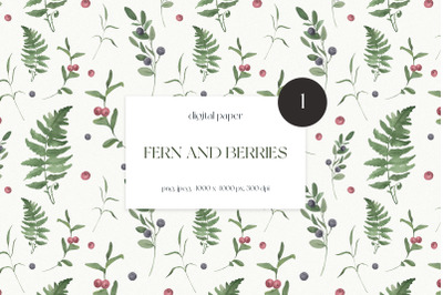 Watercolor Fern and Berries Seamless Pattern
