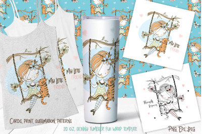 Cute girl with a cat on a swing digital clipart.  Sublimation Png Svg