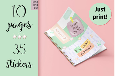 A4 planner and a set of cute stickers