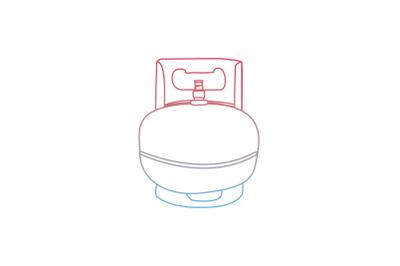 Kitchen Gas Cylinder Gradient Flat Icon