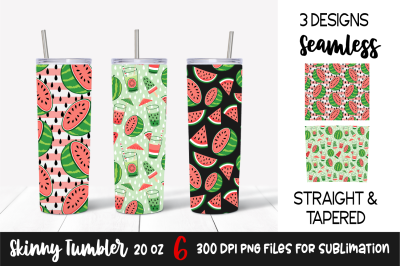 Red Watermelon Sublimation Designs for Skinny Tumbler 20 Oz