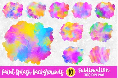 Bright Paint Splash Sublimation Backgrounds Bundle PNG