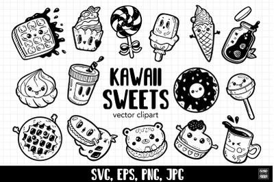 Kawaii sweets vector clipart