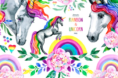 Watercolor rainbow & unicorn