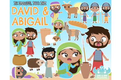 David and Abigail Clipart - Lime and Kiwi Designs