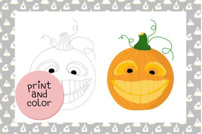 Coloring page Halloween Pumpkin JPEG