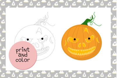 Coloring page Halloween Pumpkin JPEG Just print and enjoy! 1 JPEG pag