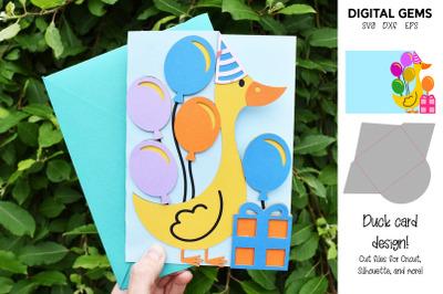 Duck Birthday / Christmas / Baby shower card & envelope SVG