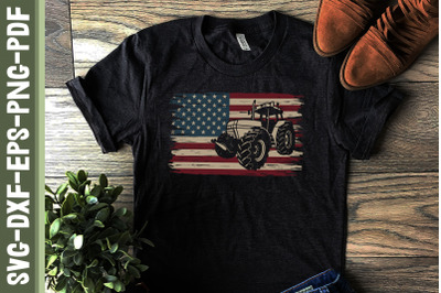 America Tractor 4th of July USA Flag